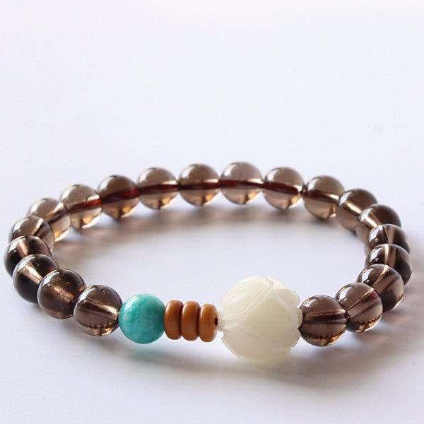Smoky Quartz and Amazon Stone with a Carved White Bodhi Seed Bracelet-bracelets-Goddess Jewelry
