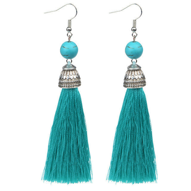 Summer Silky Natural Stone Multiple Colors Long Tassel Earrings