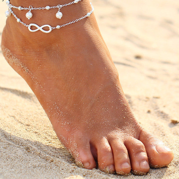 Sunkissed Leaves Pendant Soft Goldtone Beach Anklet-anklets-Goddess Jewelry