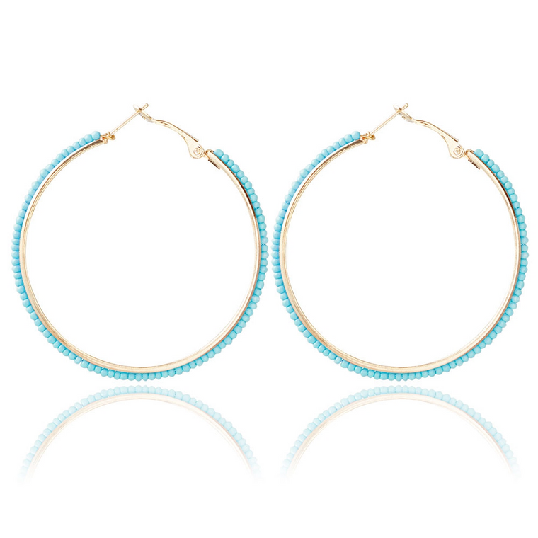 Ocean Blue Sparkle Round Circle Hoop Earrings