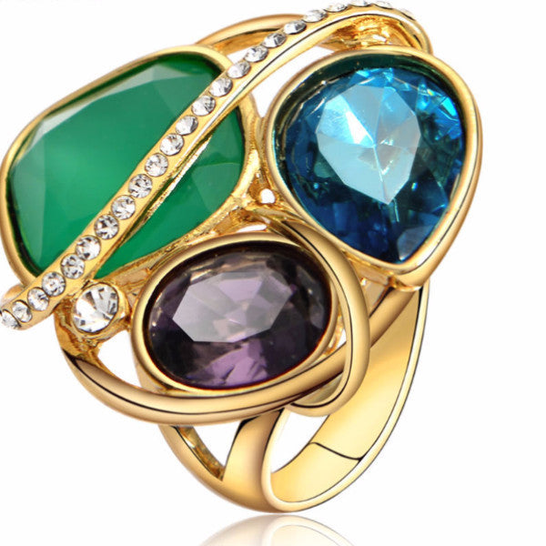 Venus Glam Sparkle Crystal Blue Green Purple Crystal Rhinestone Cocktail Ring-rings-Goddess Jewelry