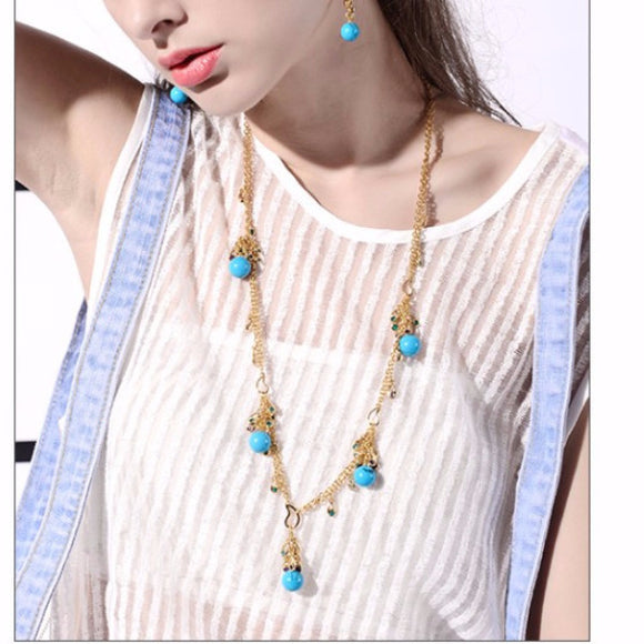 Venus Glam Turquoise Color Necklace-Necklace-Goddess Jewelry