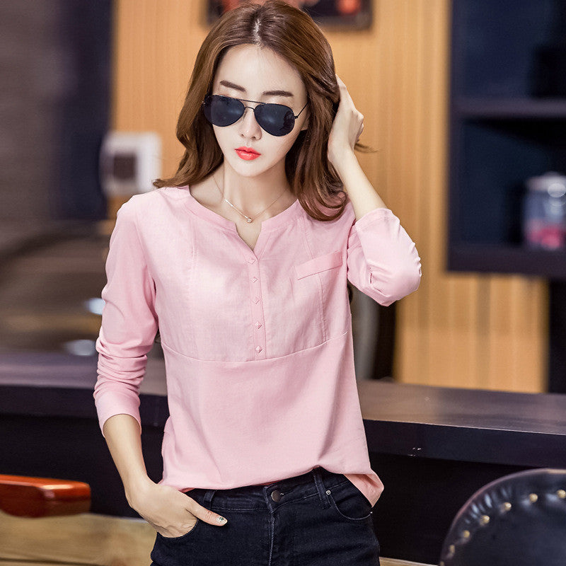 e7233c82948b1e ... Shintimes Chemise Femme Womens Clothes 2017 Ladies Linen Blouses Shirts  Pink Fashion Women Clothing Cotton Blouse ...
