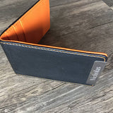 Personalized Leather Men's Wallet with orange stitching