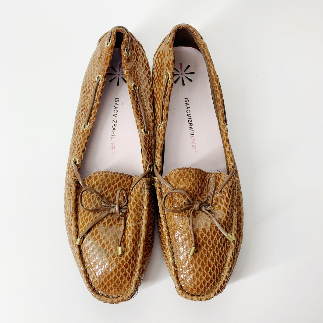 Issac Mizrahi Brown Live Snake Embossed Driver Slip On Loafers (Size 10W)