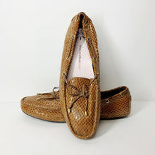 Load image into Gallery viewer, Issac Mizrahi Brown Live Snake Embossed Driver Slip On Loafers (Size 10W)