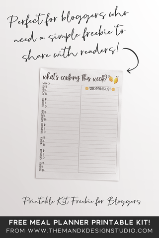 What's cooking this week? Meal Planner Printable Kit Freebie for bloggers