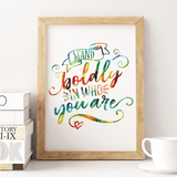Single Mom / Boss Babe Typography Print | Stand boldly in who you are