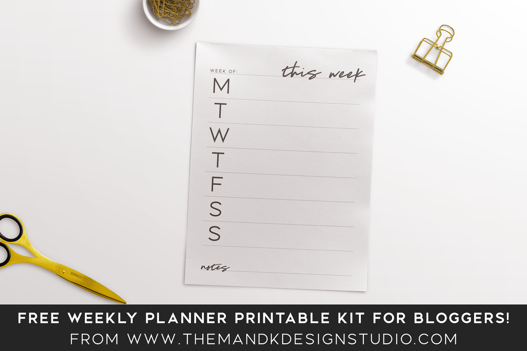 Free weekly planner printable kit for bloggers