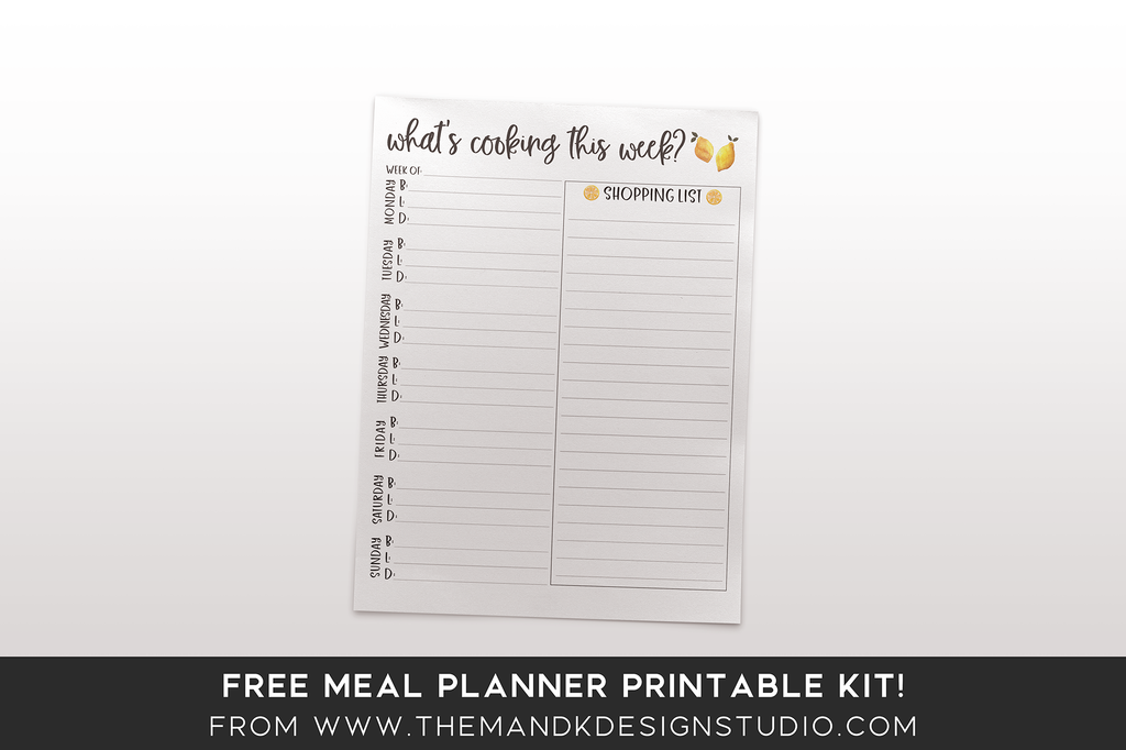 What's cooking this week - Meal Planner Printable Kit Freebie for Bloggers