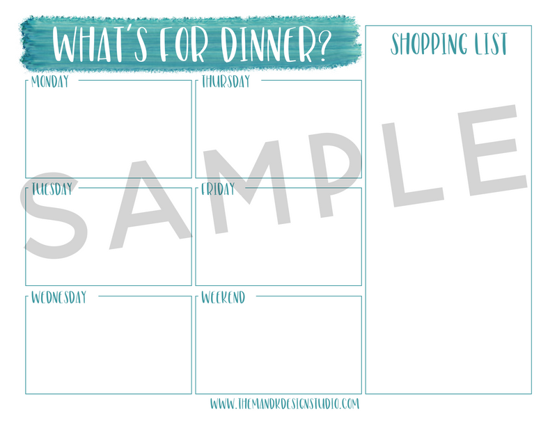 Printable Kit for Bloggers: the Kelsie Weekly Dinner Menu Planner - the M&K Design Studio
