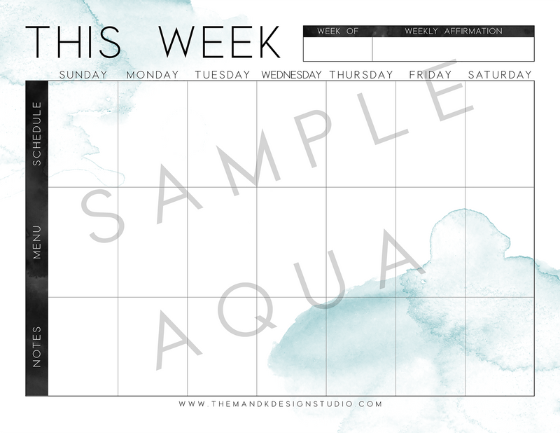 Printable Kit for Bloggers: the Sophia Weekly Planner Printable - the M&K Design Studio