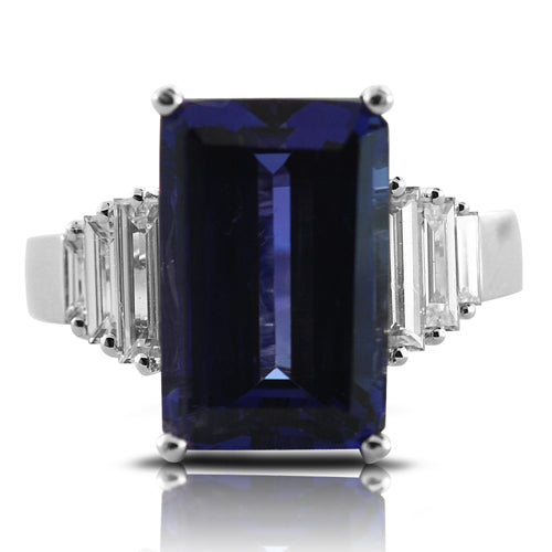 tanzanite ring, tanzanite, sapphire, sapphire ring, emerald cut, gemstone ring, cocktail ring, baguette diamonds