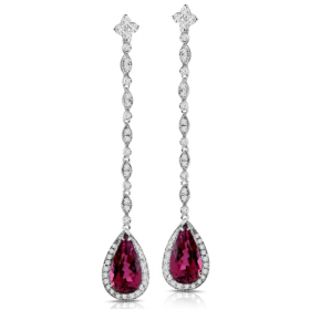 Rubellite & Diamond Dangle Earrings
