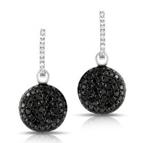 Black Diamond Charm Earrings w/ White Hoop
