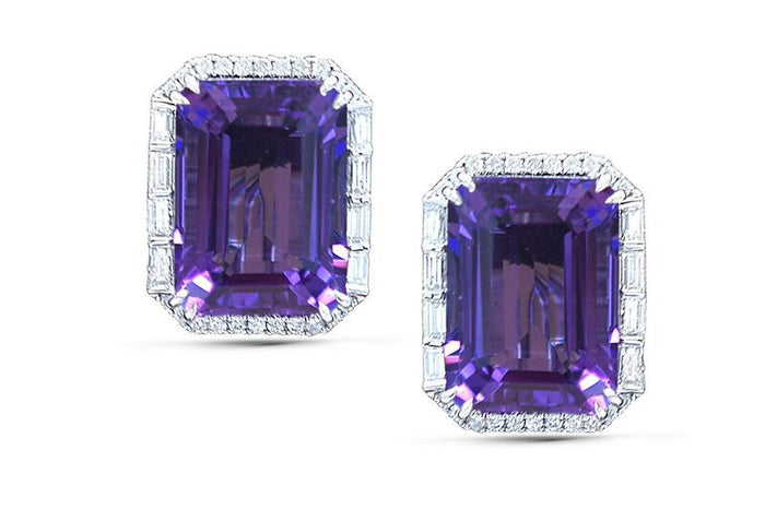 amethyst, amethyst studs, amethyst earrings, amethyst and diamonds, emerald cut amethyst, amethyst statement earrings