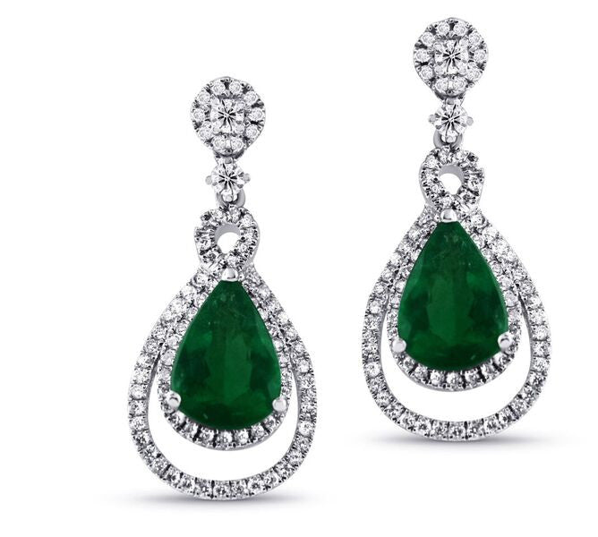 Tsavorite Pear Shaped Diamond Earrings