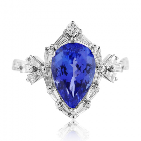 Pear Tanzanite w/ Baguette & Round Diamonds