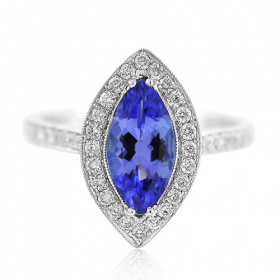 Marquise Tanzanite & Diamond Ring