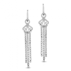 diamond earrings, dangling earrings, diamond statement earrings, pave diamond earrings, diamond tassel, diamond tassel earrings