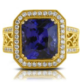 Radiant Cut Tanzanite Ring