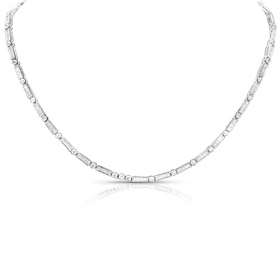 White Gold Link & Diamond Necklace