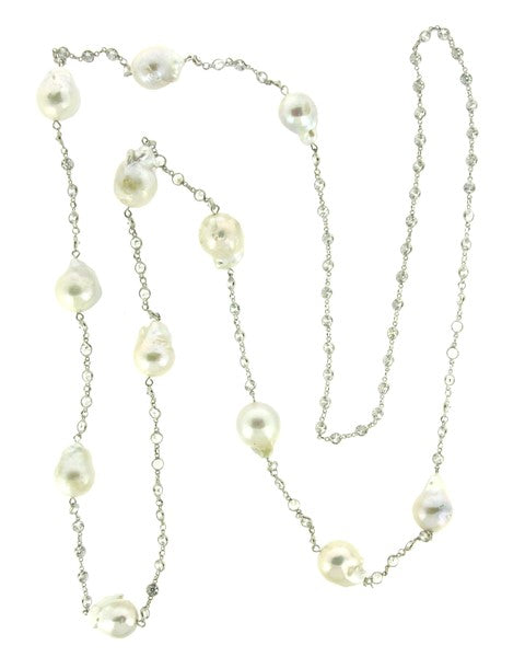pearl, baroque pearl, crystals, baroque pearl necklace