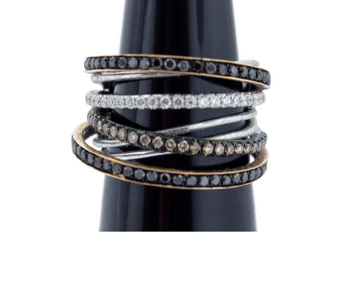 Multi-Row Black, Champagne, & White Diamond Ring