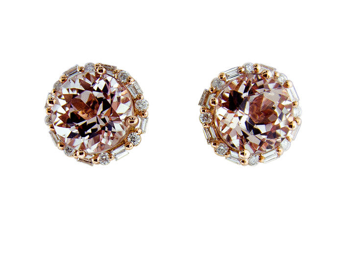 Morganite Studs with Round and Baguette Diamond Halos