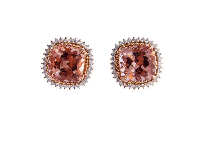 Morganite Cushion Cut Studs with Diamond Halos