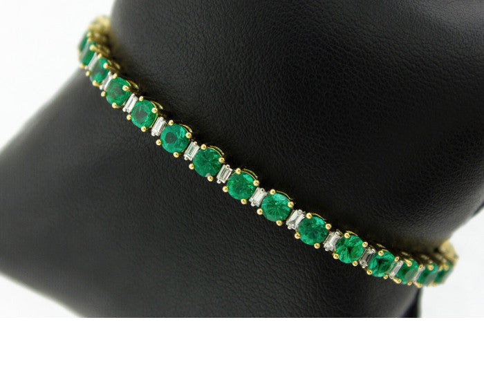 Columbian Emerald and Diamond Tennis Bracelet