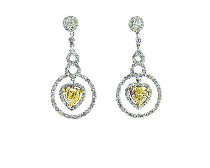 Yellow Diamond Heart Earrings