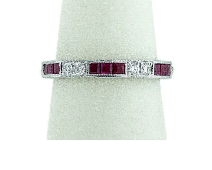 Ruby & Diamond Channel Set Band