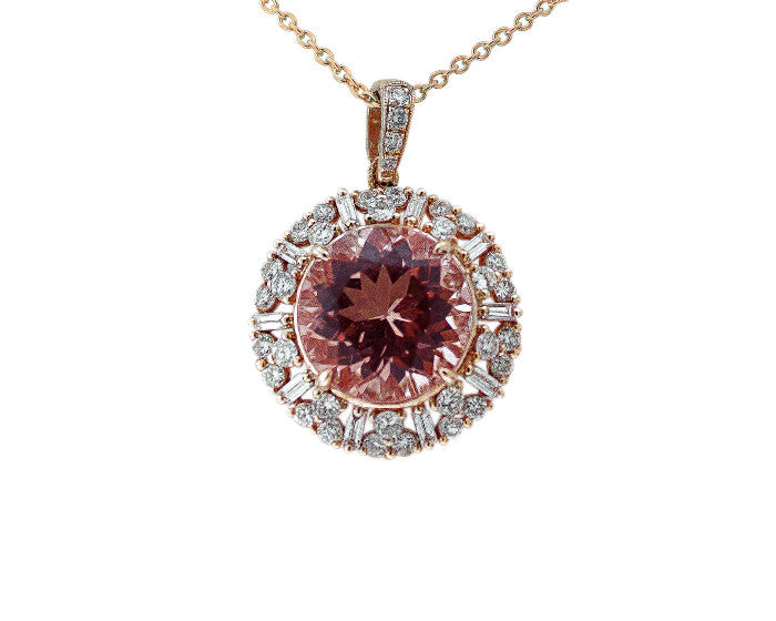 Morganite & Diamond Halo Pendant