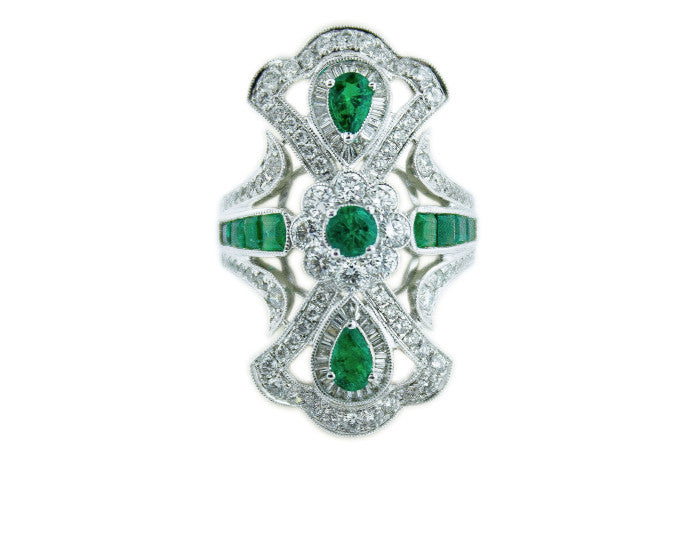 emerald, art deco, diamonds, emerald ring, art deco ring