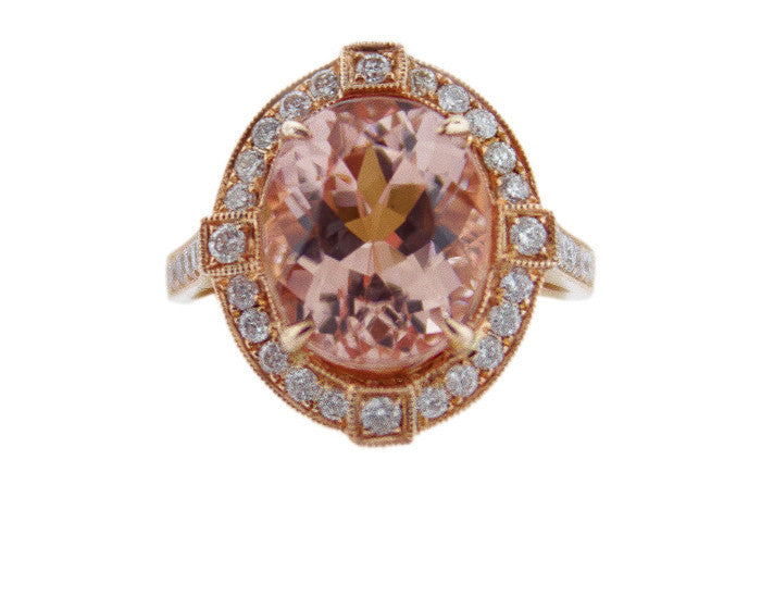 Morganite Oval Diamond Ring