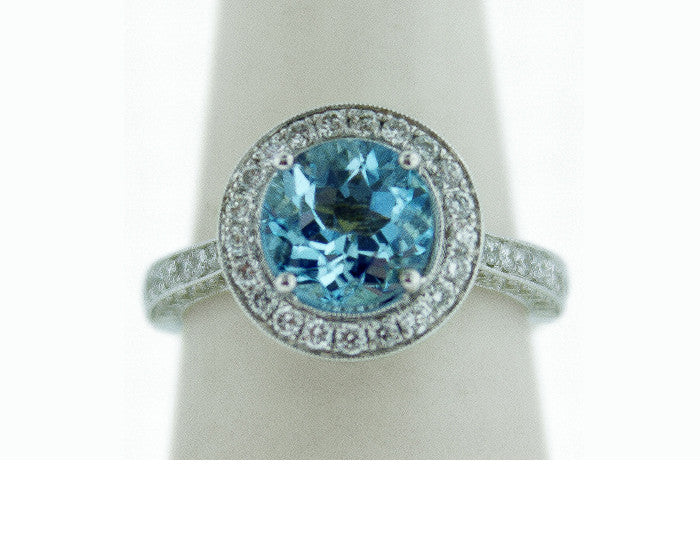 aqua, aquamarine, diamonds, ring, white gold, engagement ring
