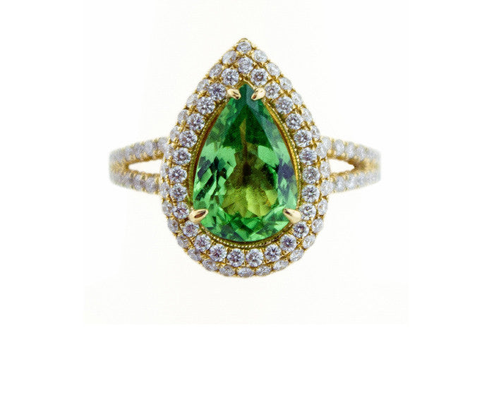Tsavorite Pear Gemstone Diamond Ring