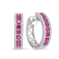 diamond hoops, rubies, ruby hoops, ruby earrings, birthstone earrings, ruby and diamond hoops, ruby and diamond jewelry