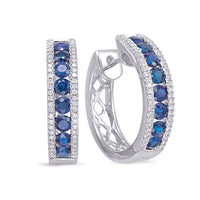 diamond hoops, sapphire hoops, sapphire earrings, birthstone earrings, blue sapphire, sapphire and diamond hoops, sapphire and diamond jewelry