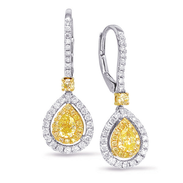 Yellow Diamond Teardrop Earrings