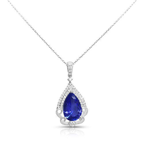 Pear Shaped Tanzanite Diamond Pendant