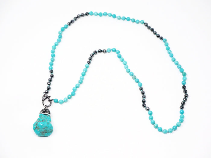 Turquoise Nugget Hematite Necklace