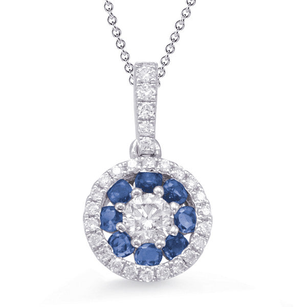 sapphire necklace, blue sapphire, sapphire and diamonds, sapphire and white gold, sapphire pendant, sapphire birthstone