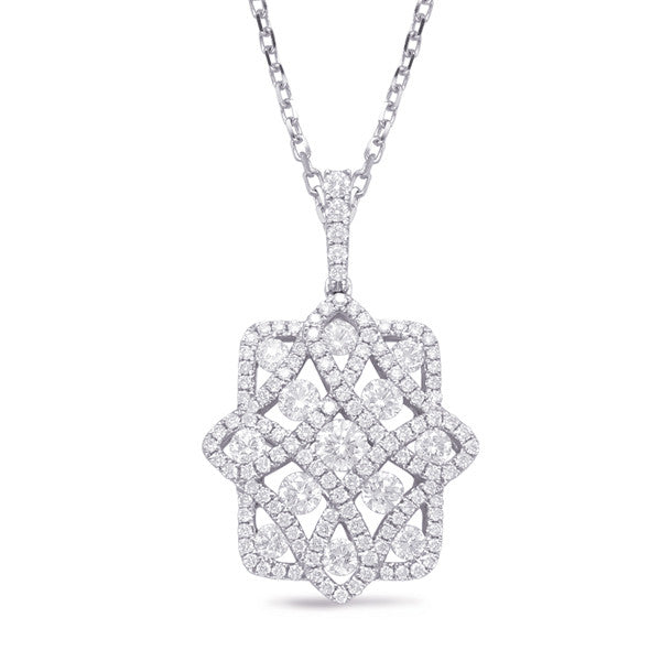 diamond pendant, diamond floral pendant, diamond necklace