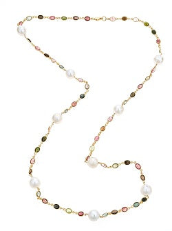 Multi colored Tourmaline & Pearl Necklace