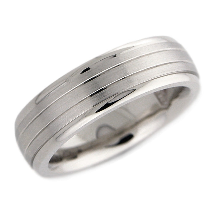 Men's Matte & Polished Band with Lines
