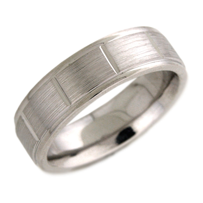 Men's Matte Wedding Band with Lines