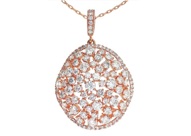 rose gold pendant, diamond pendant, rose gold and diamonds, diamond necklace, rose gold necklace