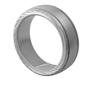 Men's Matte Wedding Band with Side Etching